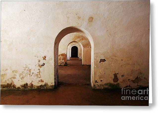 El Morro Fort Barracks Arched Doorways San Juan Puerto Rico Prints Greeting Card by Shawn O'Brien