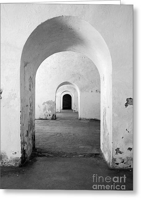 El Morro Fort Barracks Arched Doorways Vertical San Juan Puerto Rico Prints Black And White Greeting Card by Shawn O'Brien
