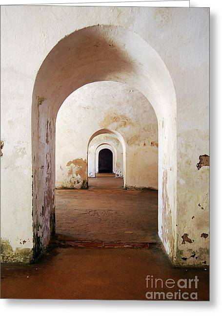El Morro Fort Barracks Arched Doorways Vertical San Juan Puerto Rico Prints Greeting Card by Shawn O'Brien