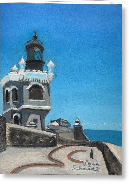 Puerto Rico Pastels Greeting Cards - El Morro Fort in Old San Juan Puerto Rico Greeting Card by Dana Schmidt