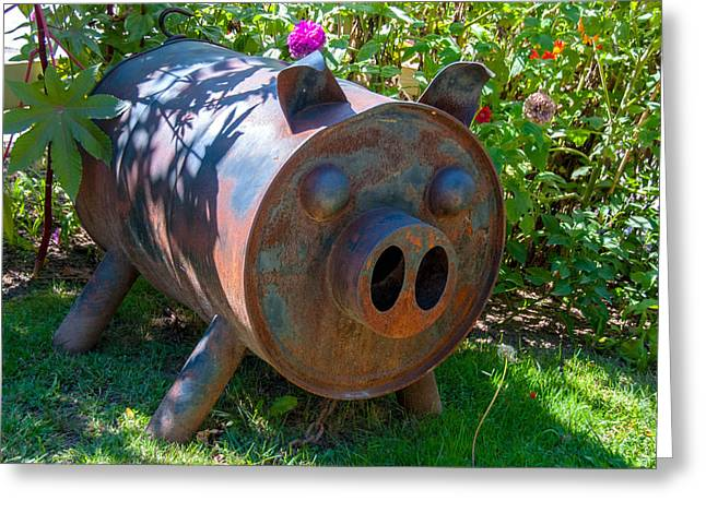 Rusty Oil Drum Greeting Cards - El Puerco Greeting Card by Guy Whiteley