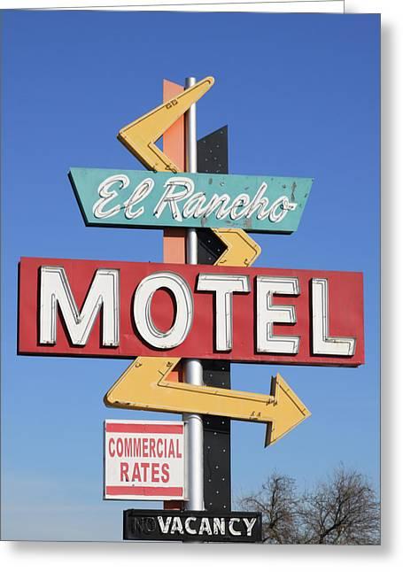 Stockton Greeting Cards - El Rancho Motel Stockton CA Greeting Card by Troy Montemayor