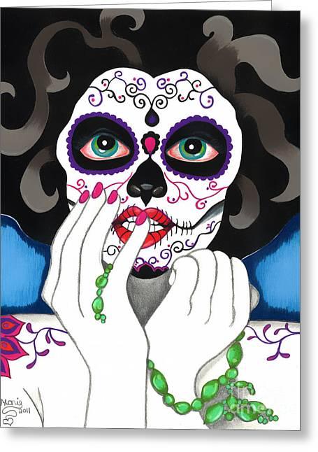 Mexican Drawings Greeting Cards - El Rosario Sagrado Greeting Card by B Marie