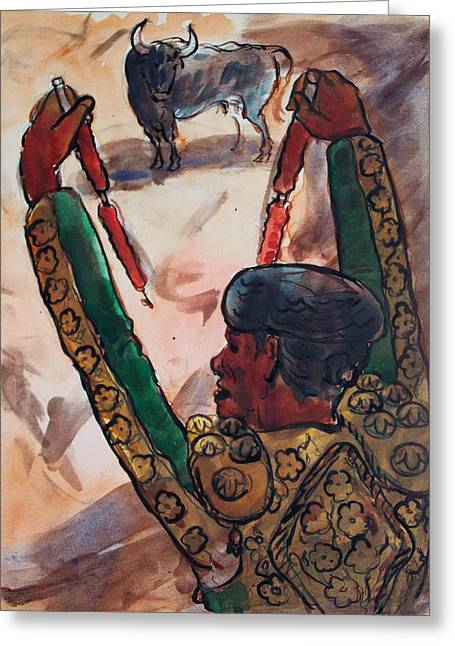 Mexican Fighters Greeting Cards - El Torero Greeting Card by Bill Joseph  Markowski