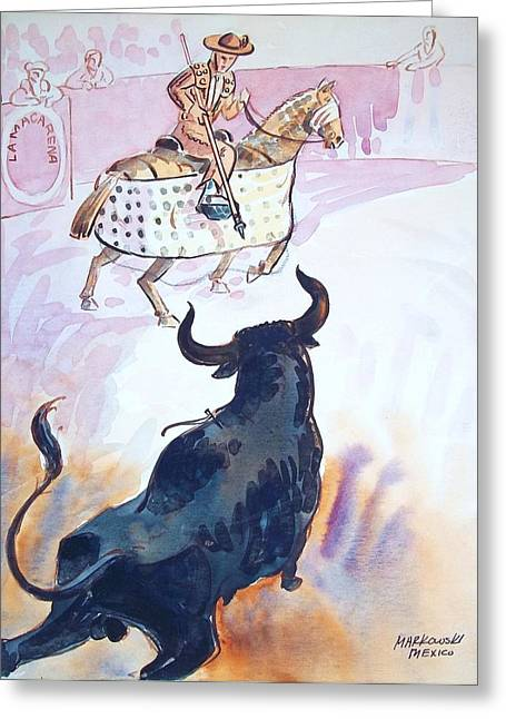 Charro Hat Greeting Cards - El Toro Greeting Card by Bill Joseph  Markowski