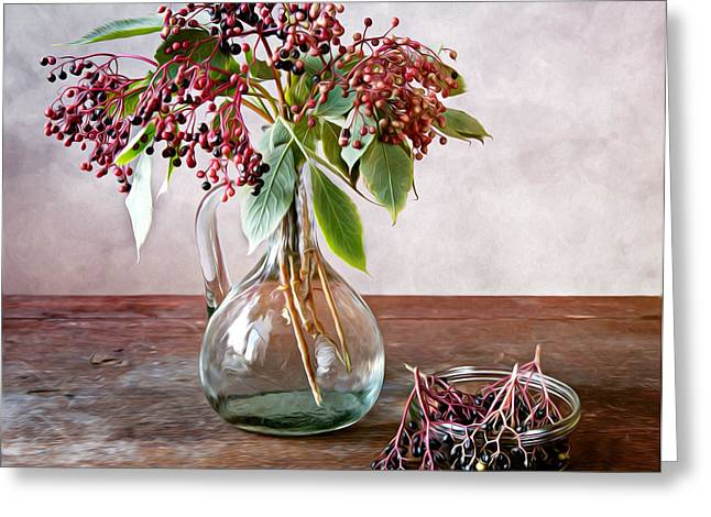 Patterned Greeting Cards - Elderberries 01 Greeting Card by Nailia Schwarz