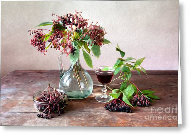Patterned Greeting Cards - Elderberries 02 Greeting Card by Nailia Schwarz