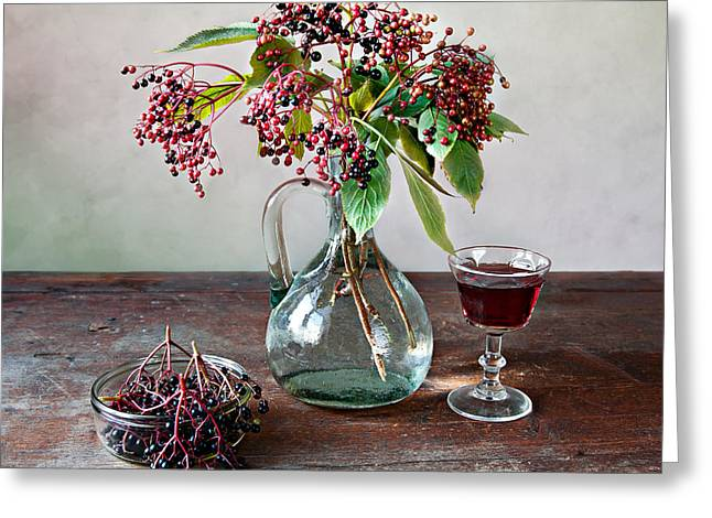 Patterned Greeting Cards - Elderberries 08 Greeting Card by Nailia Schwarz