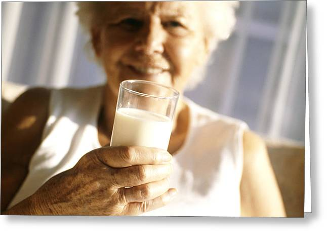 Consume Greeting Cards - Elderly Woman Drinking Milk Greeting Card by Cristina Pedrazzini