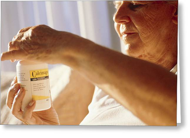 Wellbeing Greeting Cards - Elderly Woman Taking Calcium Pills Greeting Card by Cristina Pedrazzini