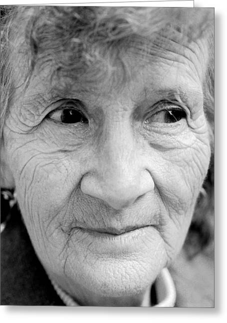Citizens Greeting Cards - Elderly Womans Face Greeting Card by Victor De Schwanberg