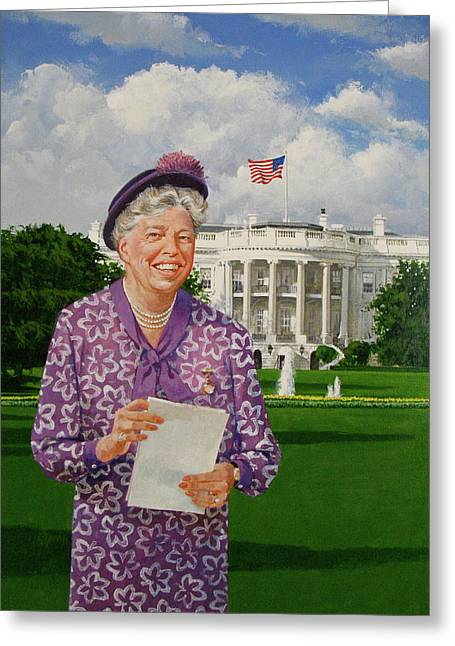 First Lady Mixed Media Greeting Cards - Eleanor Everywhere Greeting Card by Cliff Spohn