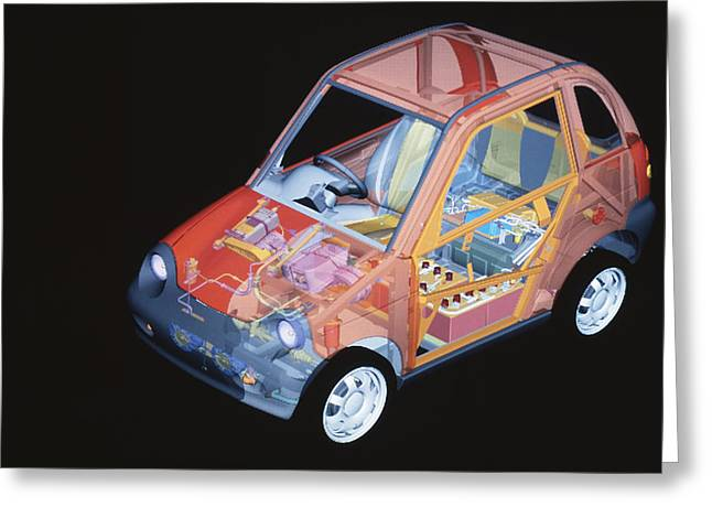 Non-polluting Greeting Cards - Electric Car, Artwork Greeting Card by Volker Steger
