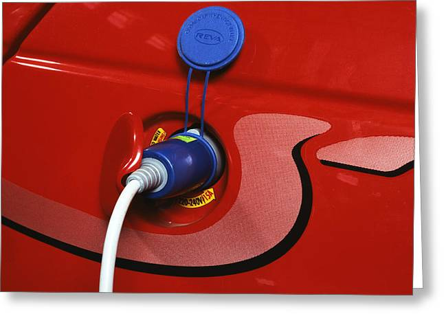 Recharge Greeting Cards - Electric Car Greeting Card by Volker Steger