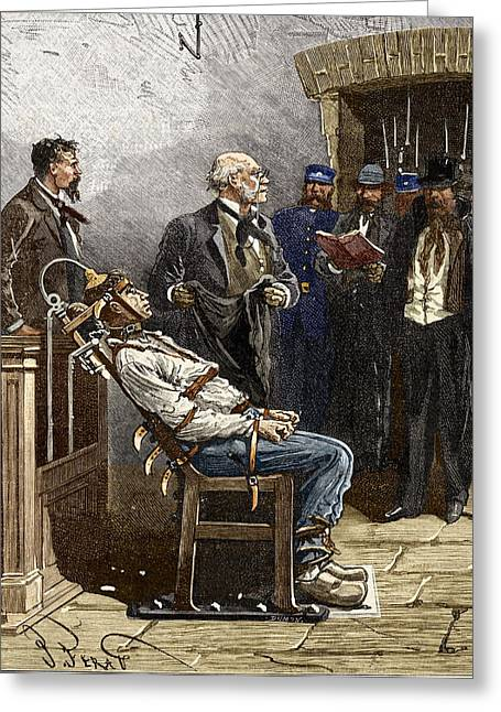 Humane Greeting Cards - Electric Chair, 1890 Greeting Card by Sheila Terry