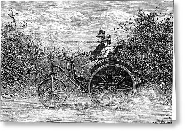 Electric Dogcart, 19th Century Greeting Card by