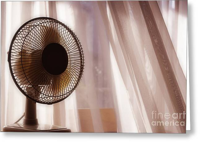 Electric Fan Greeting Cards - Electric fan beside apartment window with white curtains Greeting Card by Sami Sarkis