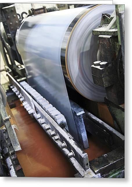 Metal Sheet Greeting Cards - Electric Galvanising Of Steel Greeting Card by Ria Novosti