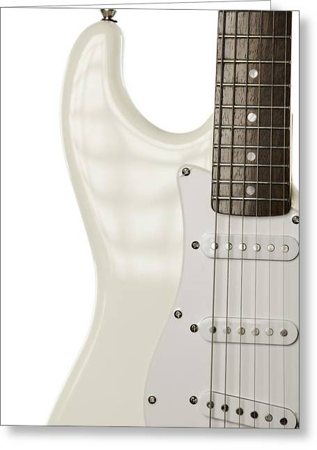 Guitar Pictures Greeting Cards - Electric Guitar on White Greeting Card by M K  Miller
