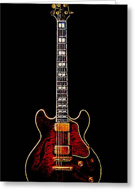 Wood Instruments Greeting Cards - Electric Guitar . Painterly Greeting Card by Wingsdomain Art and Photography