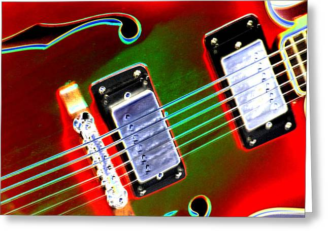 Red Guitar Digital Art Greeting Cards - Electric Guitar Greeting Card by Peter  McIntosh
