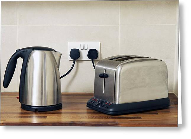 Toaster Greeting Cards - Electric Kettle And Toaster Greeting Card by Johnny Greig
