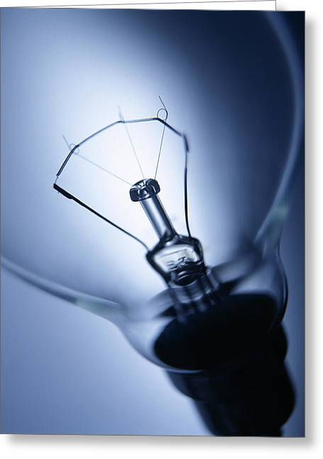 Bayonet Greeting Cards - Electric Light Bulb Greeting Card by Tek Image