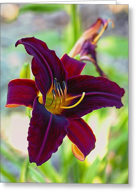 Stigma Greeting Cards - Electric Maroon Lily Greeting Card by Bill Tiepelman