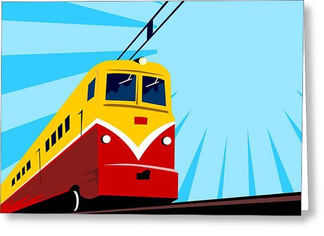 Electric Train Greeting Cards - Electric Passenger Train Retro Greeting Card by Aloysius Patrimonio