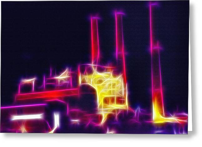 Power Plants Mixed Media Greeting Cards - Electric Power Plant at Night  Greeting Card by Steve Ohlsen