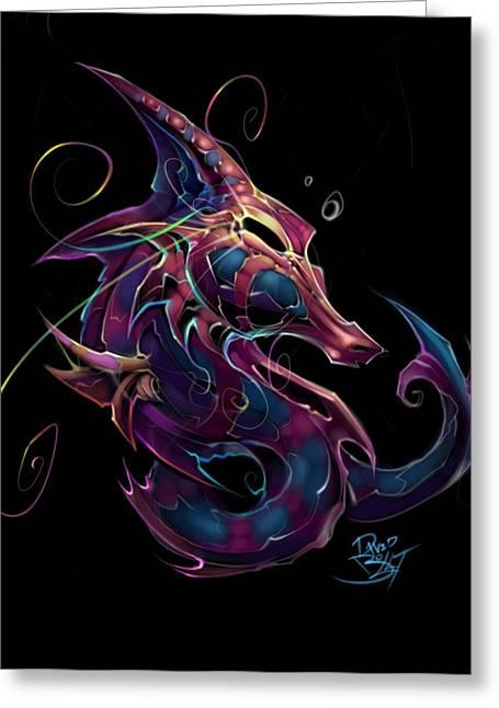 Seahorse Digital Art Greeting Cards - Electric Seahorse Greeting Card by David Bollt