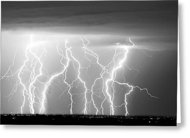 City Lights Greeting Cards - Electric Skies in Black and White Greeting Card by James BO  Insogna