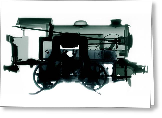 Electric Train Greeting Cards - Electric Train, X-ray Greeting Card by Neal Grundy
