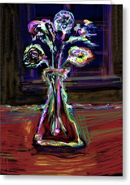 Glass Table Reflection Mixed Media Greeting Cards - Electric Vase Greeting Card by Russell Pierce