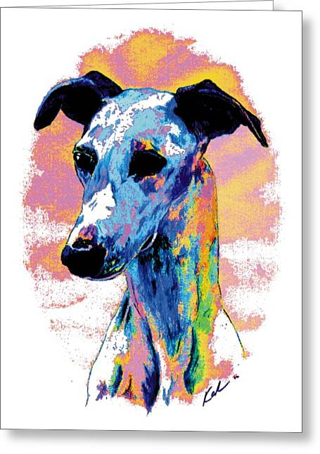 Whippet Greeting Cards - Electric Whippet Greeting Card by Kathleen Sepulveda