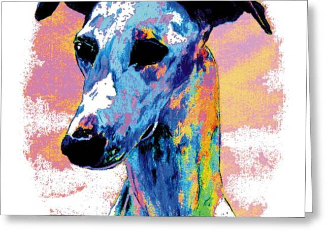 Electric Whippet Greeting Card by Kathleen Sepulveda