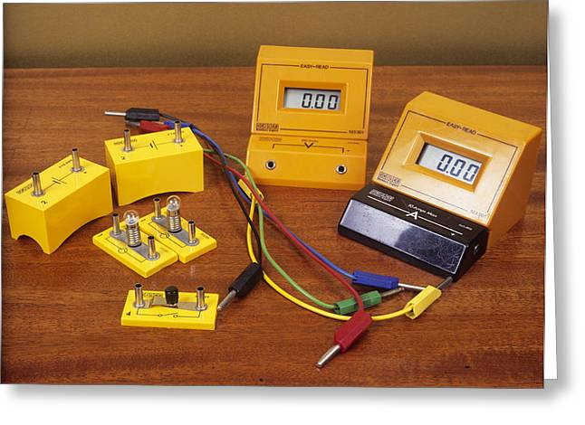 Electrical Meter Greeting Cards - Electrical Circuit Equipment Greeting Card by Andrew Lambert Photography