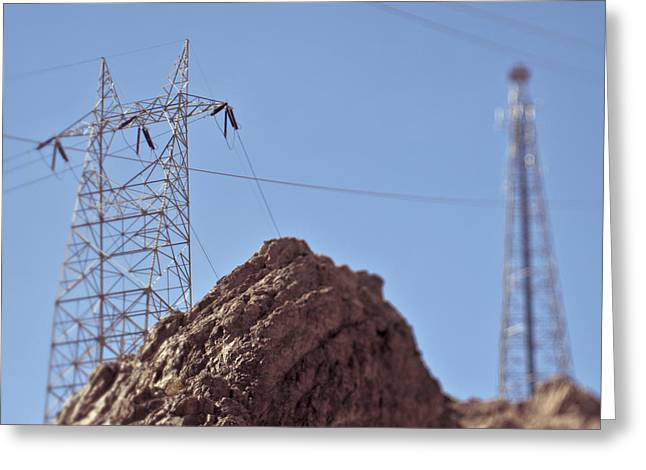 Electric Creation Greeting Cards - Electrical lines in the Desert Greeting Card by Eddy Joaquim