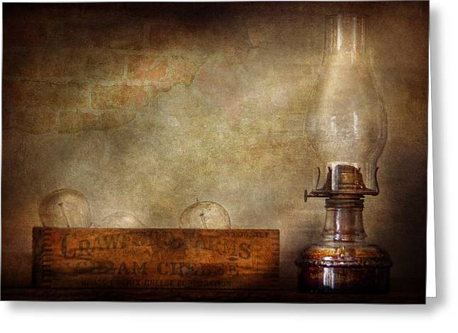 Edison Greeting Cards - Electrician - Advancements in lighting  Greeting Card by Mike Savad