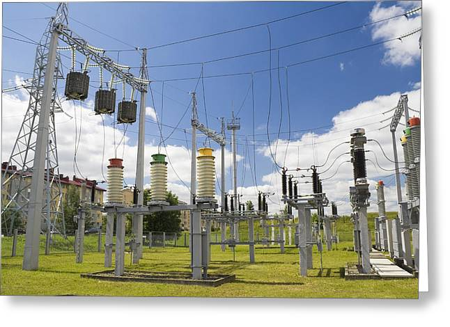Electricity for a city Greeting Card by Aleksandr Volkov