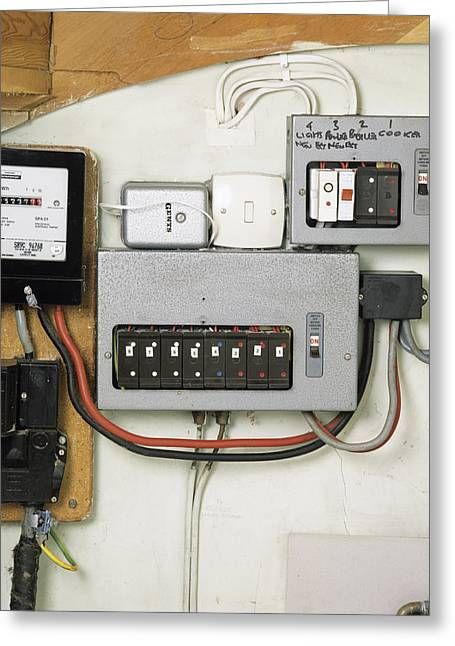 Electrical Meter Greeting Cards - Electricity Meter And Fuse Boxes Greeting Card by Sheila Terry