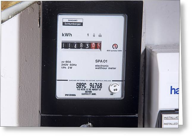 Electrical Meter Greeting Cards - Electricity Meter Greeting Card by Sheila Terry