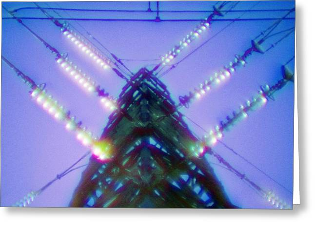 Electric Pylon Greeting Cards - Electricity Power Pylon Greeting Card by Richard Kail