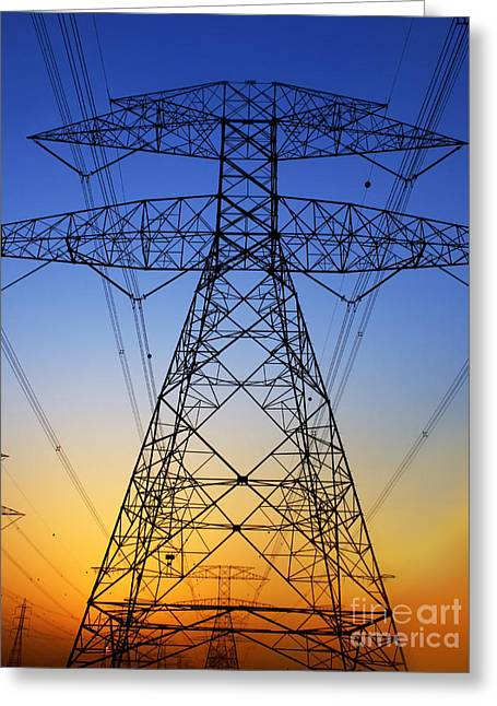Electric Pylon Greeting Cards - Electricity Pylon Greeting Card by Anna Omelchenko