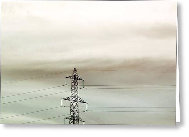 Electricity Pylon In Fog Greeting Card by Duncan Shaw
