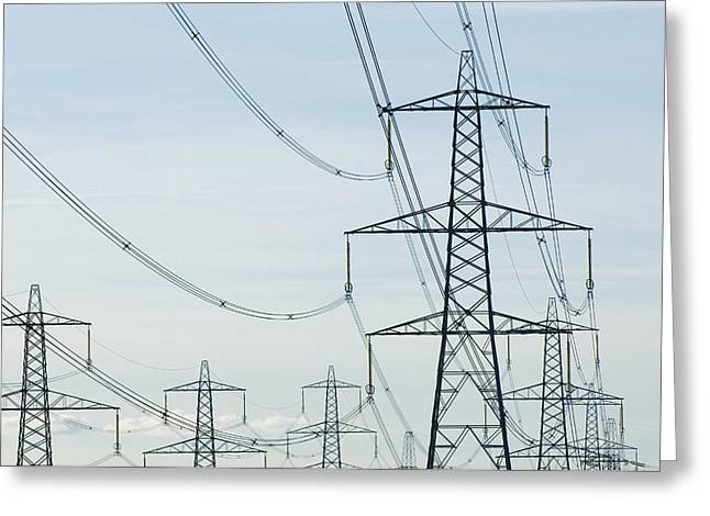 Electrical Equipment Greeting Cards - Electricity Pylons Against A Clear Blue Greeting Card by Iain  Sarjeant
