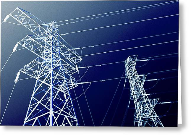 Electric Pylon Greeting Cards - Electricity Pylons Greeting Card by Kevin Curtis
