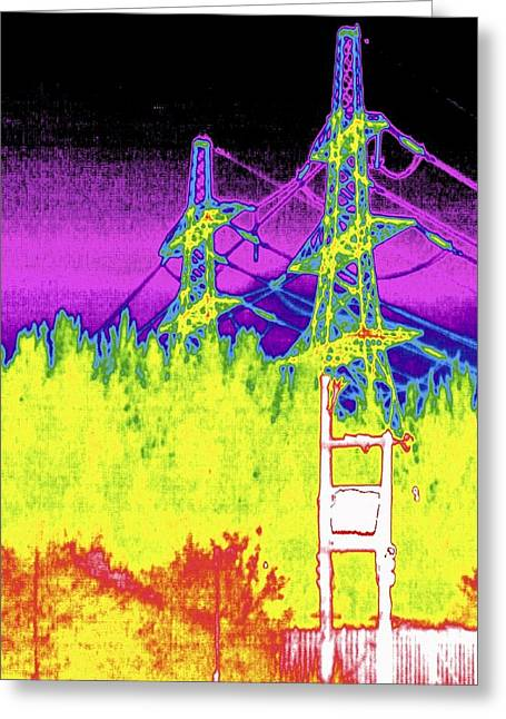 Electricity Pylons, Thermogram Greeting Card by Tony Mcconnell