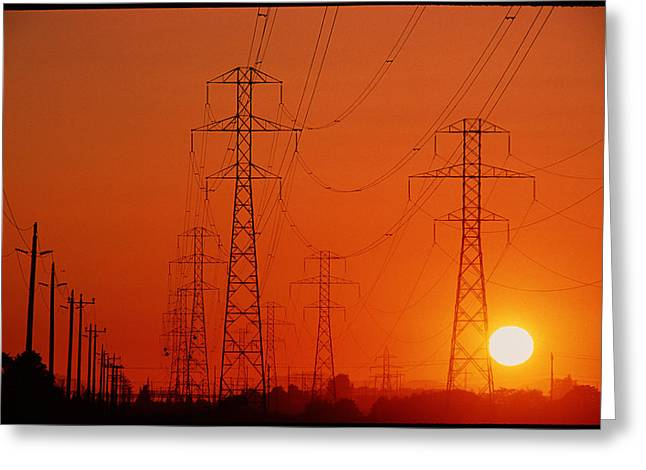 Transmission Greeting Cards - Electricity Transmission Lines At Sunset Greeting Card by David Nunuk