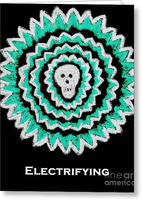 Fineartamerica Drawings Greeting Cards - Electrifying Skull - turquoise on black Greeting Card by Jeannie Atwater Jordan Allen